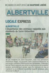 article de journal parlant d'une intervention à la maison de retraite d'Albertville
