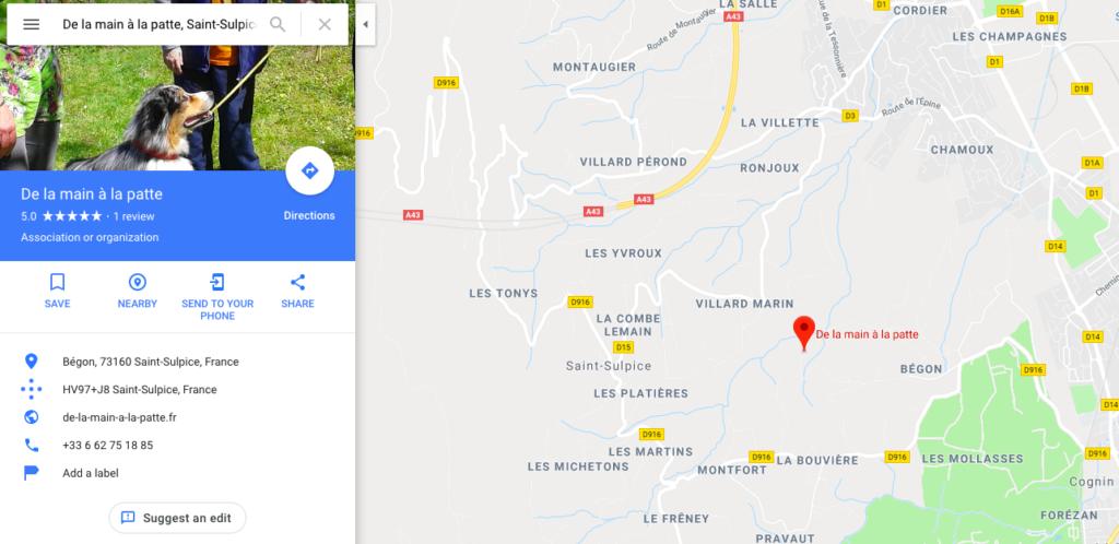 Coordonées GPS médiation animale Savoie en Rhone-Alpes