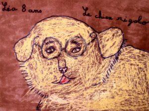 dessin de chien par un enfant Dessin réalisé dans l'atelier : LE CHAT BLEU Atelier d'Arts plastiques pour enfants, animé par Gisèle Nesme.